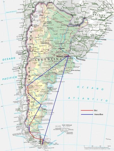 Mappa del viaggio Patagonia 1999