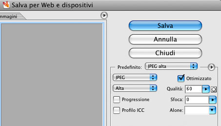 Photoshop salva per web