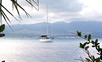 Fiona rides at anchor in the San Blas Islands, Panama, March, 2007