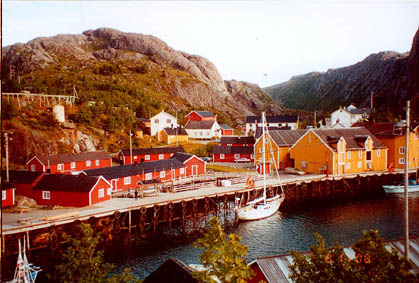 Fiona tied up at Nusfjord, Lofoten Is